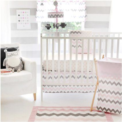 My Baby Sam Chevron 3 Piece Crib Bedding Set, Pink/Gray