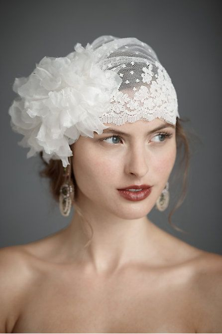 Vintage Wedding Bridal headpiece  The flower is a bit much, but I like the lace cap veil look.