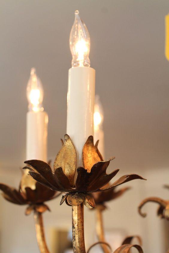 Vintage Lighting at Knots & Weaves #KnotsAndWeaves #VintageLighting #Chandelier #Gold #Detail
