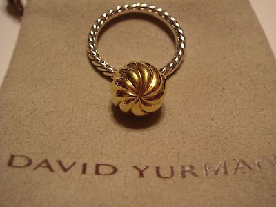 DAVID YURMAN Sterling Silver 18k Gold 10mm Cable Ball Ring size 6 Pouch - http://designerjewelrygalleria.com/david-yurman/david-yurman-sterling-silver-18k-gold-10mm-cable-ball-ring-size-6-pouch/