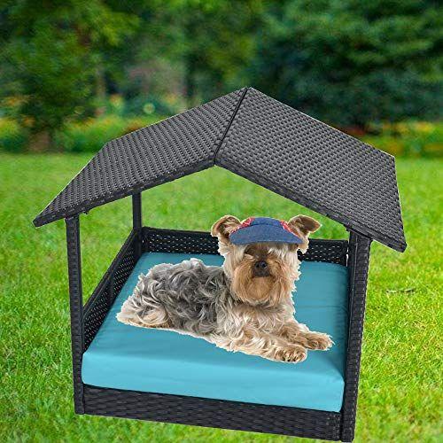 Leaptime Outdoor Rattan Pet Home Indoor Patio Pet Dogs House Garden Wicker Bed For Pet With Cushion Outdoor Pet Bed Dog Furniture Outdoor Dog Furniture