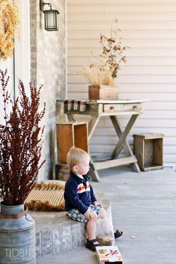 Look to mother nature to inspire your Fall decorating this year. This Fall Front Porch Decor uses all sorts of clipping and weeds to bring together a warm and inviting welcome.