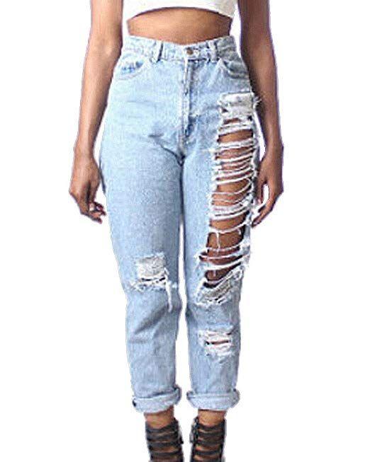 Resultado De Imagen Para Jeans Anchos Y Rotos Mujer Vaqueros Rasgados Pantalones Boyfriend Y Ropa