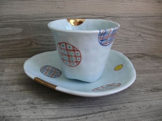 Anthropologie Pottery Cup & Saucer Abstract Dot Design Great as Jewelry Catchall