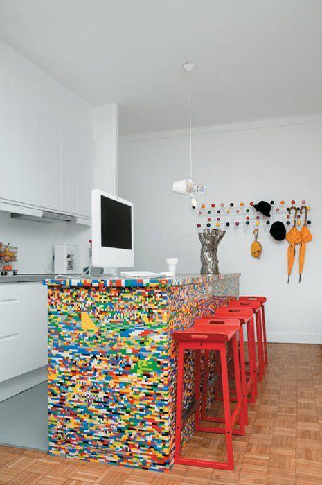 Lego facade on a bar/desk. Cool!