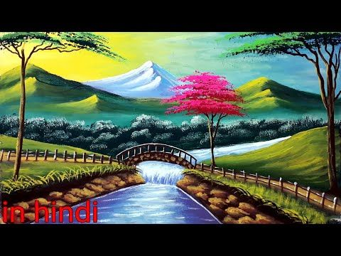 How To Draw Village Scenery In Acrylic Painting Scenery Drawing Of Nature Landscape Paintings Acrylic Poster Color Painting Landscape Paintings