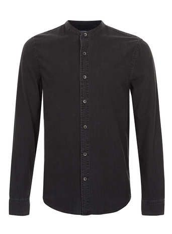 Washed Black Denim Stand Collar Long Sleeve Shirt