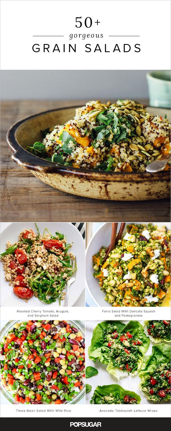 These whole grains provide an ideal base for a variety of flavors, and are easily translated into meal-worthy salads, perfect for brown bag lunches, dinner parties, and more. Keep reading for more than 50 ideas.