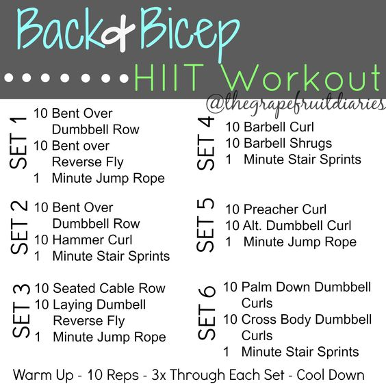 Back And Bicep Workout, For Women And HIIT On Pinterest