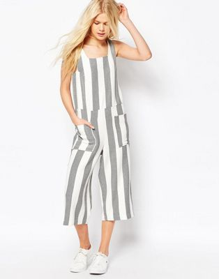 ASOS Jumpsuit in Woven Stripe with Square Neck