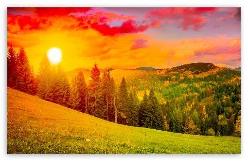Download Colorful Sunrise Mountain Landscape Hd Wallpaper Sunset