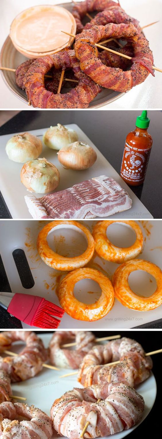 Smoked Bacon Wrapped Onion Rings With Sriracha Mayo Dipping Sauce | Simple Homemade Grilled BBQ Recipes by DIY Ready at  http://diyready.com/diy-recipes-bbq-ideas/