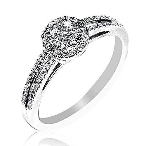 0.25ct Diamond Engagement Ring 7mm Wide 10K White gold Rings-MidwestJewellery.com