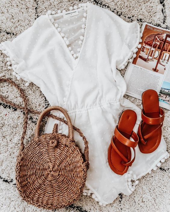 Summer Outfits, Spring Outfits, Beach Outfits, Pom Pom, Lace, Romper, White Romper, Ratten Bag, Sandals, Holiday, Getaway, Travel Outfits, Feminine Style, Fashion, Flatlay, goodnightmacaroon