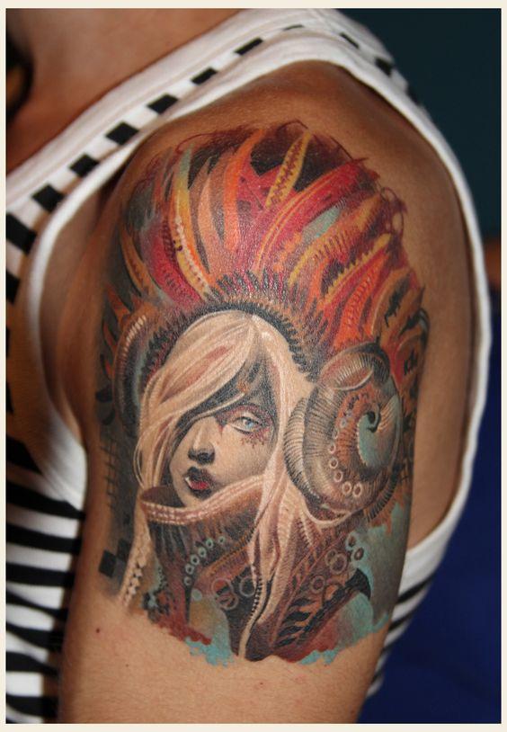 Dia de los Muertos  Artist of art work Android Jones (I think)  Tattoo Artist Unknown