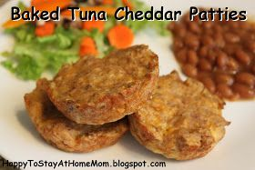 Happy To Stay At Home Mom: Baked Tuna Cheddar Patties