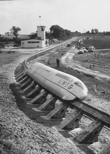 The Bennie Railplane ran on a prototype track in Glasgow circa 1929. Technically, it's not a monorail because it has a guide rail at the bottom. [Oobject]