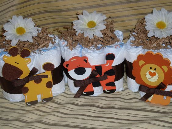 NEW Sweet Jungle Theme Mini Diaper Cake Trio Wonderful Baby Shower Centerpieces. $24.99, via Etsy.