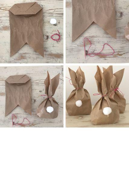 Emballage cadeau de lapin de Pâques une idée de bricolage pour l'emballage de Pâques #bricolage #cadeau #Emballage #Idée #lapin #lemballage #Pâques