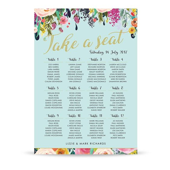 Roses A1 Table Plan