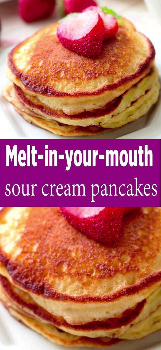 Sour Cream Pancakes In 2020 Sour Cream Pancakes Sour Cream Recipes Breakfast Brunch Recipes