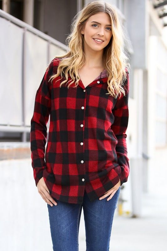 Afternoon Hike Red Plaid Button Top