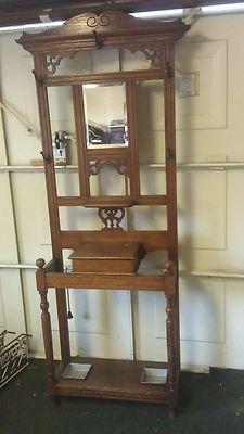Antique Wooden Hall Stand For Coats Hats And Umbrellas