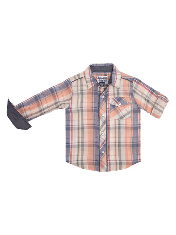 Multi Plaid Long Sleeve Button-Down Shirt from The Dragon and the Rabbit Kids' Clothes on Gilt