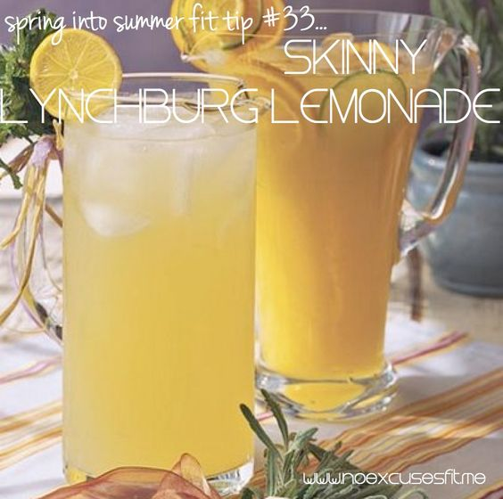 Skinny Lynchburg Lemonade    1.5 oz or 3 tablespoons Jack Daniels whiskey     2 tablespoons lemon juice     1 tablespoon lime juice     a few drops of orange extract     1 cup diet lemon-lime soda (such as Sprite or 7up)  Pour ingredients into a glass. Add ice, and stir. Garnish with a slice of lemon. (107 calories)
