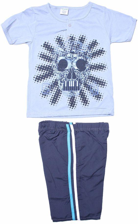 TURTLE BAY Big Boys Shull Face Print Short Sleeve Gray T Shirt & Active Shorts5/6. T SHIRT AND SHORT SET. 65% POLY 35% COTTON. SKULL FACE PRINT. SHORT SLEEVE, BUTTON TOP. ACTIVE SPORT SHORTS.