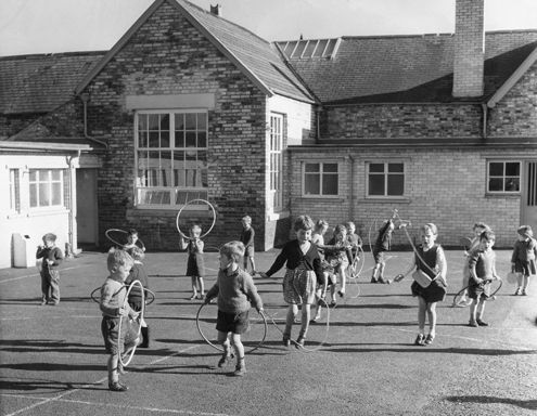 Playtime! No iPhones, no Xbox, just hoops skipping ropes and fun!