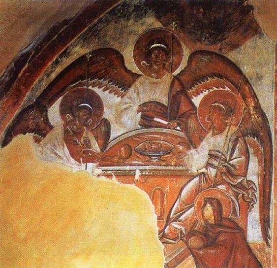 Троица. Роспись Троицкого придела в церкви Спаса Преображения на Ильине улице в Новгороде. 1378. Фреска: