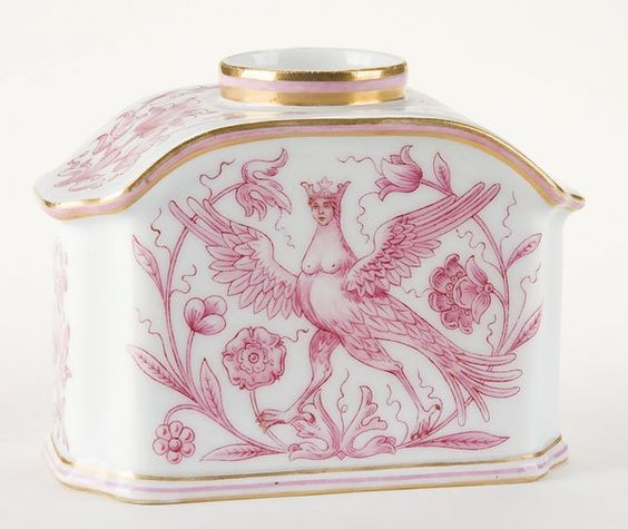 Russian Imperial Porcelain Factory tea caddy. Overall decorated with florals and both sidrs with an Akonost (bird of paradise) and edges with gilt trim. Based marked under glaze with the cypher of Tsar Nicholas II and dated 1914