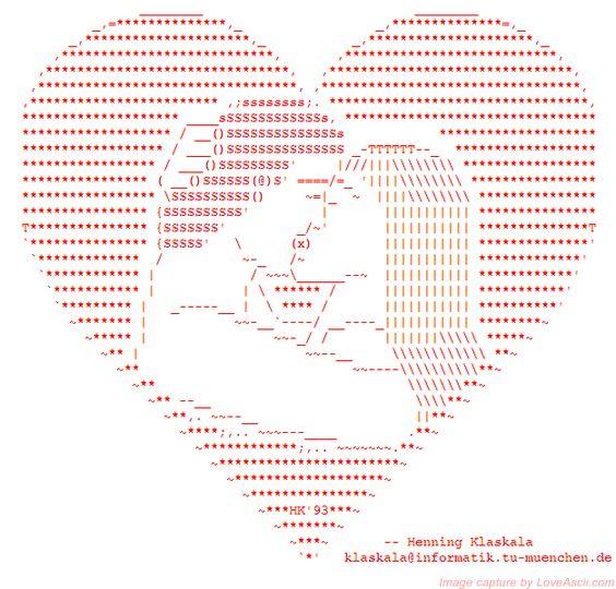 couple kiss in an ASCII heart | ASCII Art Kisses