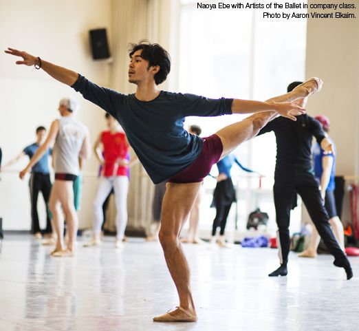 Naoya Ebe with Artists of the Ballet in company class. Photo by Aaron Vincent Elkaim.