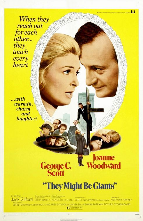 They Might be Giants (1971) George C. Scott plays a retired judge who (after his wife's death) suddenly believes himself to be Shelock Holmes.