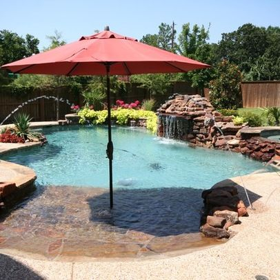 Walk in pool pool designs and walk in on pinterest for Pool design with beach entry