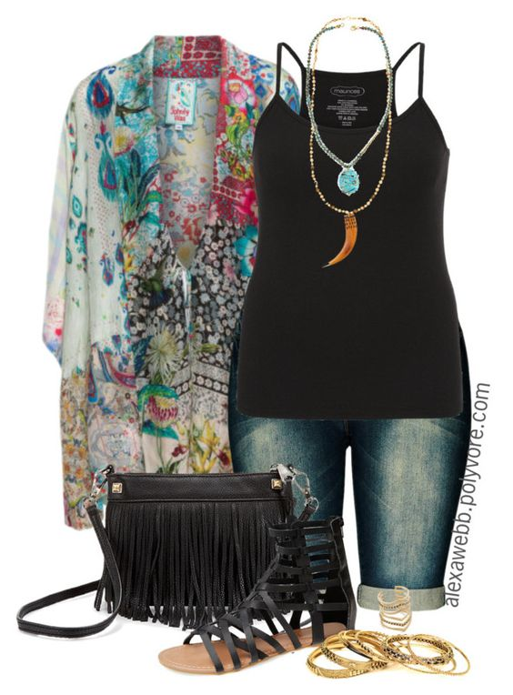Plus Size - Kimono Jacket by alexawebb on Polyvore featuring maurices, Johnny Was, Wet Seal, Rebecca Minkoff, Amrita Singh, Chan Luu, SunaharA, outfit, plussize and plussizefashion: