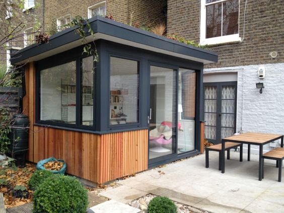 Larch cladding green roofs and extensions on pinterest for Garden room designs ideas