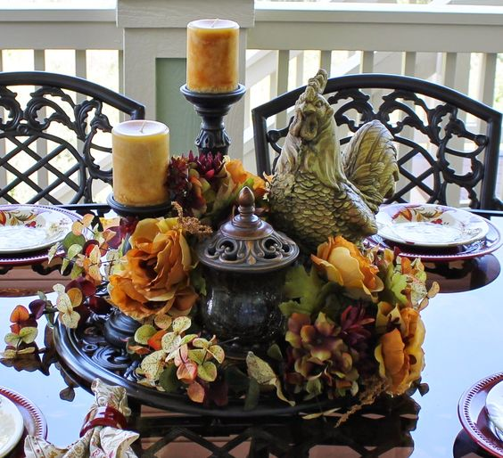 Beautiful dining rooms decks and centerpieces on pinterest for Beautiful dining table centerpieces