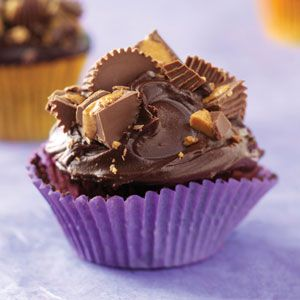 chocolate-peanut butter cupcakes with chocolate ganache frosting - making this for my Bible study Christmas party tonight!