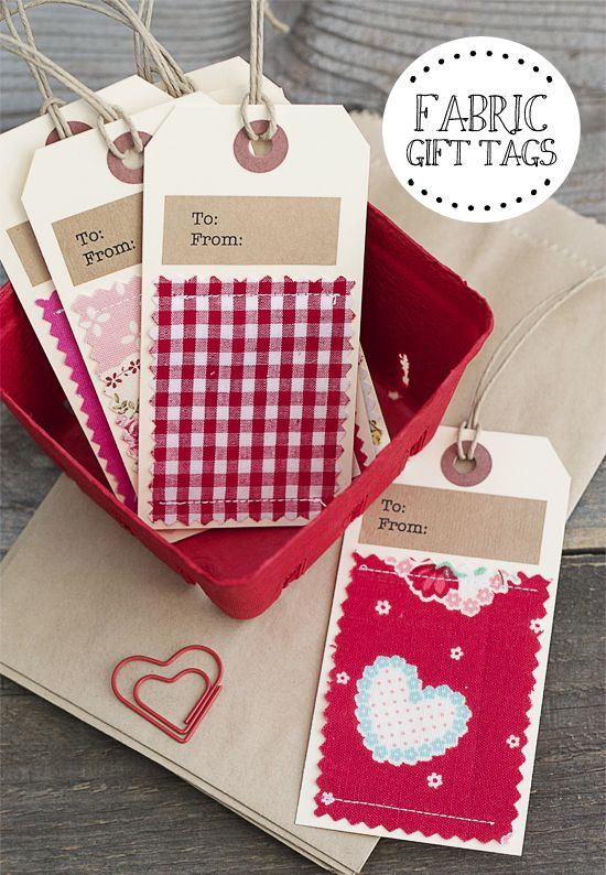 Super cute handmade fabric gift tags!  Personalize them for every holiday too.  www.livelaughrowe.com #gifttags