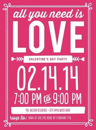 Cute Valentine's Day party invitation | Valentine's Day Fun ...