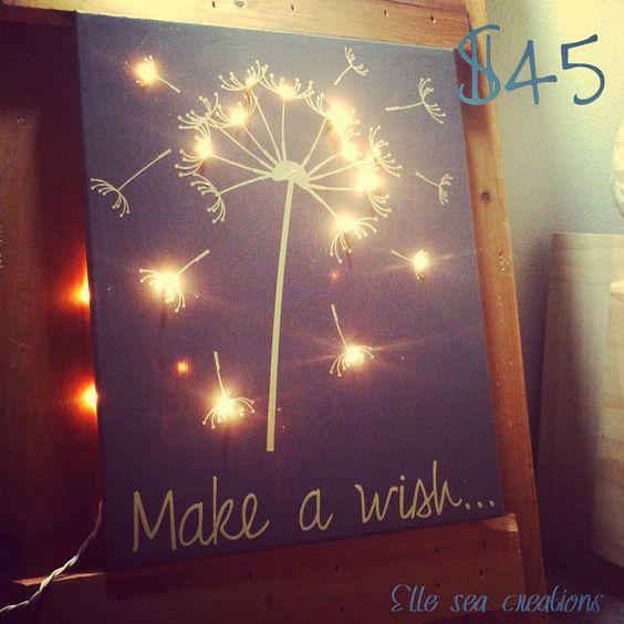 Make a Wish - Light-up Canvas on Etsy, $45.00