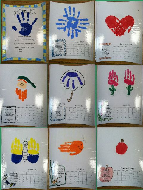 A handprint calendar so cute for kids to give to parents for christmas classroom for Cute calendar ideas