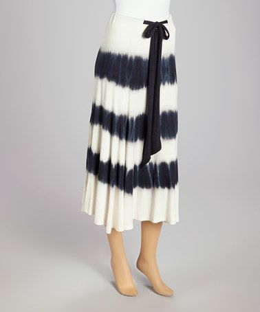 Love this Black & Ivory Stripe Tie-Dye Maxi Skirt by Lapis on #zulily! #zulilyfinds