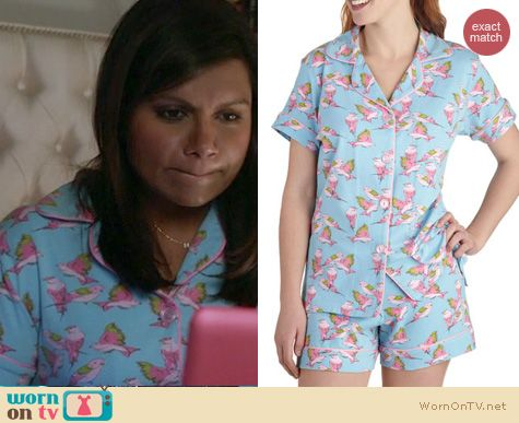Mindy's blue and pink bird print pajamas on The Mindy Project.  Outfit details: http://wornontv.net/15339/