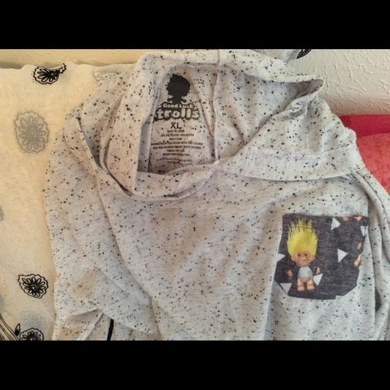 Trolls Size XL  Long Hooded Tee Heather Grey, NWT This Is A Precious Trolls Top I Purchased From Another Posher Runs Small Like A JR. size, So Cute And Long Enough For Leggings, Is New And Ready To Wear!! Thanks Troll Tops Tunics