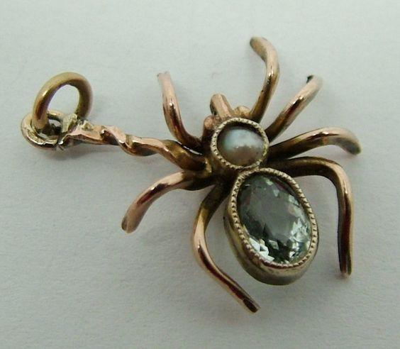 Antique Edwardian 9ct Rose Gold, Aquamarine & Pearl Spider Charm: