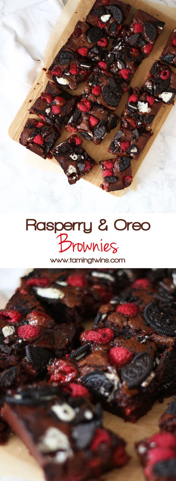 Fudgy, gooey, brownies, with a double layer of Oreos and raspberries. Because fresh fruit cancels out the chocolate, right?! A delicious birthday cake, piled high on a plate or a dessert, served with vanilla ice cream. http://www.tamingtwins.com